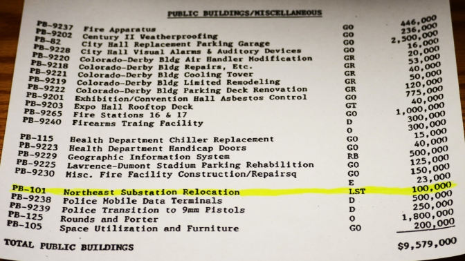 Page 355 from the City of Wichita's 1992-93 Adopted Budget - 1992 Proposed Capital Investment Project List