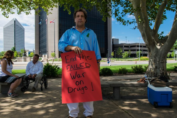 California activist Joe Grumbine in front of the Sedgwick County Courthouse.