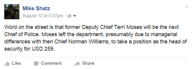 The City did not announce the finalists for Chief until August 20, 2015.