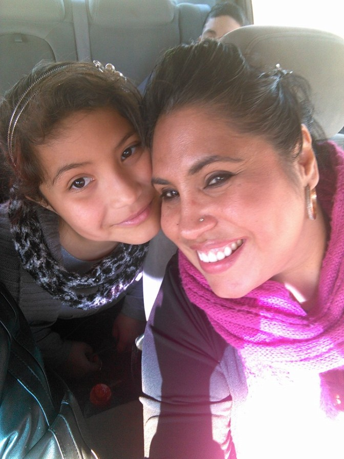 Rose Flores with her daughter.